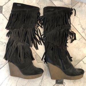 Diesel Fringe knee high wedge boots- Size 7